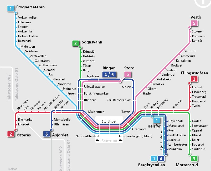 Oslo Metro kart