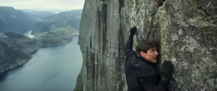 Tom Cruise hanging from the Preacher's Pulpit in Mission Impossible: Fallout